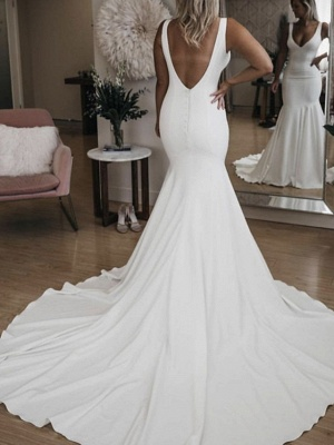 Mermaid \ Trumpet Wedding Dresses Plunging Neck Court Train Stretch Satin Sleeveless Sexy Plus Size_2