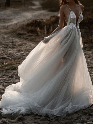 A-Line Wedding Dresses Spaghetti Strap Plunging Neck Sweep \ Brush Train Lace Tulle Sleeveless Beach Sexy See-Through_3
