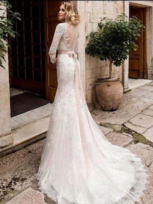 Mermaid \ Trumpet Wedding Dresses Jewel Neck Court Train Lace Tulle Lace Over Satin Long Sleeve Plus Size Illusion Sleeve_4