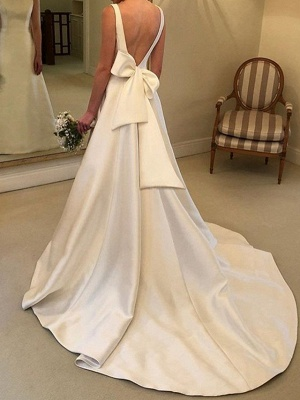 A-Line V Neck Court Train Satin Spaghetti Strap Formal Plus Size Wedding Dresses_2