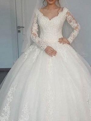 A-Line Wedding Dresses V Neck Sweep \ Brush Train Lace Long Sleeve Illusion Sleeve_2