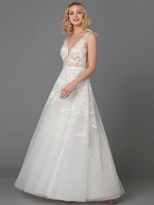 A-Line Wedding Dresses Plunging Neck Floor Length Lace Tulle Sleeveless See-Through_3