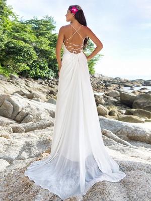 Sheath \ Column Wedding Dresses V Neck Sweep \ Brush Train Chiffon Spaghetti Strap Beach Sparkle & Shine Backless_3