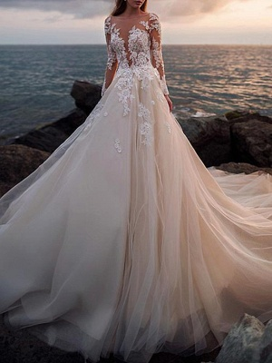 A-Line Wedding Dresses Jewel Neck Court Train Lace Tulle Long Sleeve Beach Sexy See-Through_3