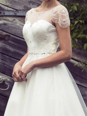 A-Line Wedding Dresses Jewel Neck Tea Length Satin Tulle Short Sleeve Vintage Sexy Wedding Dress in Color See-Through_3