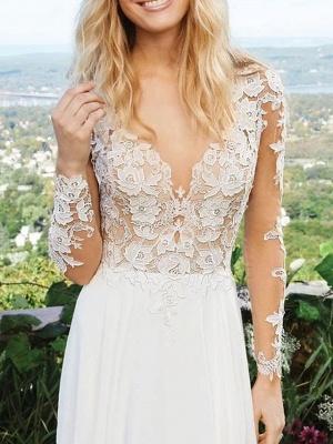A-Line Wedding Dresses V Neck Sweep \ Brush Train Polyester Long Sleeve Vintage Illusion Detail_2