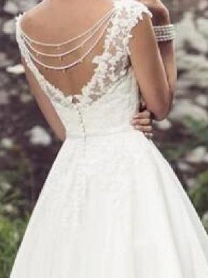 A-Line Wedding Dresses V Neck Tea Length Lace Tulle Cap Sleeve Vintage Plus Size_3