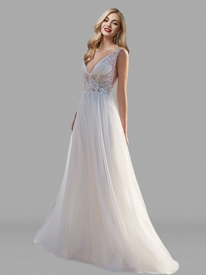 A-Line Wedding Dresses V Neck Floor Length Lace Tulle Sleeveless Beach Sexy See-Through Backless_1