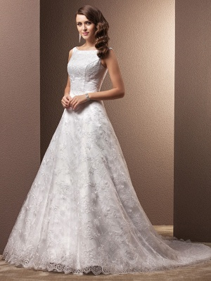 A-Line Wedding Dresses Bateau Neck Chapel Train All Over Floral Lace Regular Straps_3