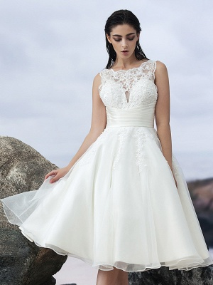 A-Line Wedding Dresses Bateau Neck Knee Length Organza Regular Straps Formal Casual Little White Dress Illusion Detail Backless_10