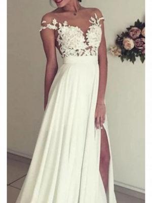 A-Line Wedding Dresses Off Shoulder Sweep \ Brush Train Chiffon Lace Regular Straps Boho_2