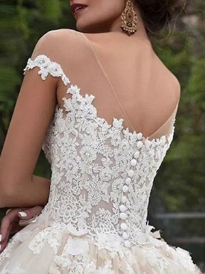 Ball Gown Off Shoulder Court Train Polyester Cap Sleeve Country Plus Size Wedding Dresses_4