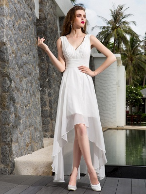A-Line Wedding Dresses V Neck Asymmetrical Georgette Regular Straps Formal Simple Casual Plus Size_1
