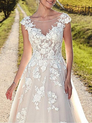 A-Line Wedding Dresses Jewel Neck Sweep \ Brush Train Lace Tulle Cap Sleeve Formal Sexy Backless Cape_4