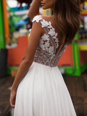 A-Line Wedding Dresses V Neck Sweep \ Brush Train Lace Satin Cap Sleeve Boho Plus Size_2