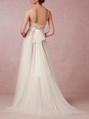 A-Line Wedding Dresses Jewel Neck Sweep \ Brush Train Lace Tulle Sleeveless Beach Sexy See-Through Backless_2
