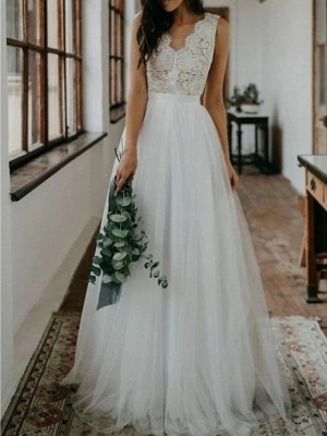 A-Line Wedding Dresses V Neck Sweep \ Brush Train Lace Tulle Sleeveless Beach Boho Sexy_1
