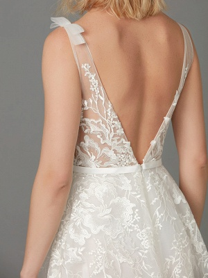 A-Line Wedding Dresses Plunging Neck Floor Length Lace Tulle Sleeveless See-Through_11