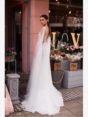 A-Line Wedding Dresses V Neck Sweep \ Brush Train Lace Tulle Regular Straps Casual Beach Sexy See-Through Backless Cape_4