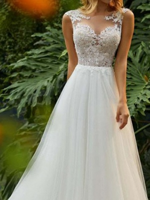 A-Line Wedding Dresses Jewel Neck Sweep \ Brush Train Tulle Regular Straps Romantic Boho Backless_3