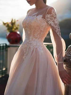 A-Line Wedding Dresses Jewel Neck Sweep \ Brush Train Lace Tulle Long Sleeve Sexy Wedding Dress in Color See-Through_2