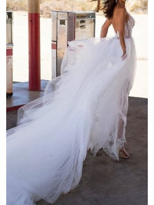 A-Line Wedding Dresses V Neck Asymmetrical Tulle Regular Straps Boho_2