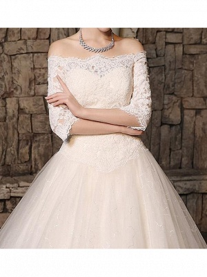 Ball Gown Off Shoulder Court Train Polyester 3\4 Length Sleeve Country Plus Size Wedding Dresses_4
