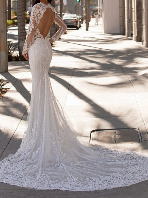 Mermaid \ Trumpet Jewel Neck Court Train Lace Stretch Satin Sleeveless Formal Illusion Sleeve Wedding Dresses_2