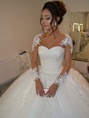 Ball Gown Wedding Dresses Sweetheart Neckline Floor Length Lace Tulle Long Sleeve Romantic Illusion Detail_3