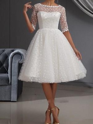 A-Line Wedding Dresses Jewel Neck Knee Length Lace Tulle Half Sleeve Vintage Little White Dress 1950s_1