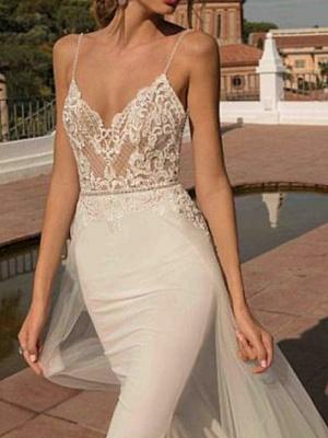 A-Line Wedding Dresses V Neck Sweep \ Brush Train Chiffon Spaghetti Strap Boho Illusion Detail_3