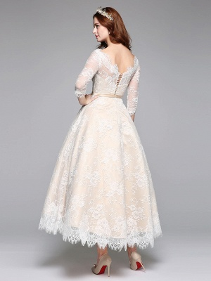A-Line Wedding Dresses Bateau Neck Ankle Length Lace Over Satin 3\4 Length Sleeve Casual Boho See-Through Cute Illusion Sleeve_5