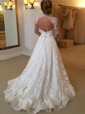 A-Line High Neck Sweep \ Brush Train Lace 3\4 Length Sleeve Lace Illusion Sleeve Wedding Dresses_2