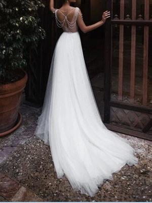 A-Line Wedding Dresses Jewel Neck Court Train Chiffon Lace Tulle Sleeveless Beach Boho Sexy See-Through_2