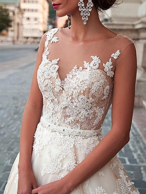 A-Line Wedding Dresses Jewel Neck Sweep \ Brush Train Lace Tulle Sleeveless Formal Sexy See-Through_4