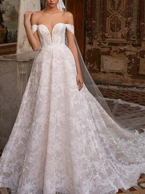 A-Line Wedding Dresses Off Shoulder Sweep \ Brush Train Lace Short Sleeve Plus Size_1