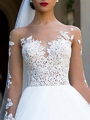 Ball Gown A-Line Wedding Dresses Jewel Neck Sweep \ Brush Train Lace Tulle Long Sleeve Formal Sexy See-Through Backless_3