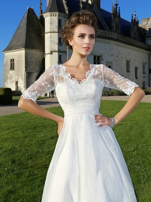 A-Line Wedding Dresses V Neck Ankle Length Organza Sheer Lace Half Sleeve Country Casual Vintage See-Through Illusion Sleeve_5
