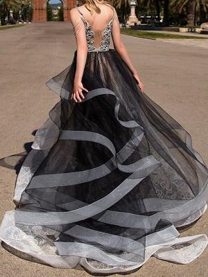 A-Line Wedding Dresses Strapless Floor Length Polyester Strapless Formal Plus Size Black Modern_3