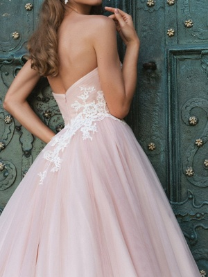 A-Line Wedding Dresses Strapless Sweep \ Brush Train Lace Taffeta Tulle Sleeveless Country Plus Size_3