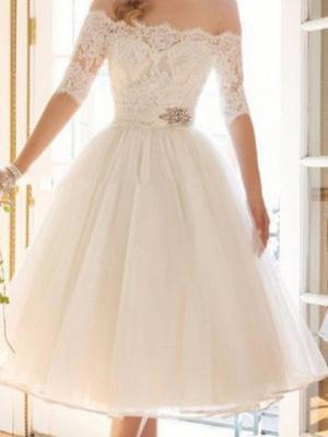 A-Line Wedding Dresses Off Shoulder Tea Length Lace Tulle Half Sleeve Vintage Sexy Wedding Dress in Color Backless_3