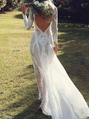 A-Line Wedding Dresses Jewel Neck Sweep \ Brush Train Chiffon Lace Long Sleeve Beach Boho Sexy_3