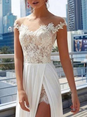 A-Line Wedding Dresses Off Shoulder Sweep \ Brush Train Lace Satin Cap Sleeve Formal Boho Plus Size_3