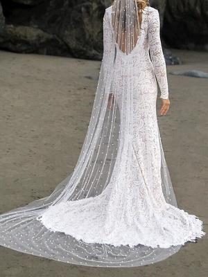 Mermaid \ Trumpet Wedding Dresses V Neck Sweep \ Brush Train Lace Satin Long Sleeve Country Plus Size_3