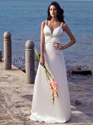 Sheath \ Column Wedding Dresses Sweetheart Neckline Sweep \ Brush Train Stretch Satin Spaghetti Strap Open Back_1