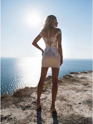 A-Line Wedding Dresses Jewel Neck Sweep \ Brush Train Lace Tulle Cap Sleeve_3