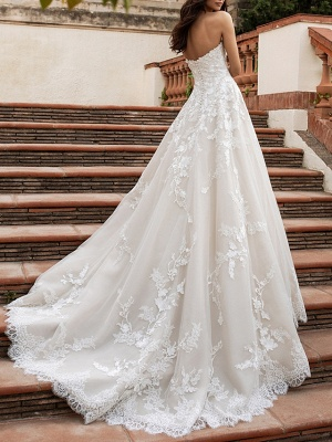 A-Line Sweetheart Neckline Sweep \ Brush Train Lace Strapless Romantic Illusion Detail Wedding Dresses_2