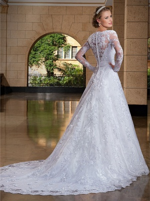 A-Line Wedding Dresses V Neck Court Train Lace Sequined Long Sleeve Formal Sexy Illusion Sleeve_2