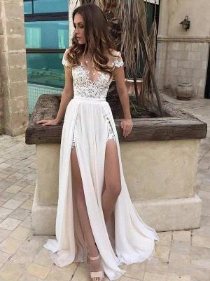 Sleeveless V-neck Lace Chiffon A-Line Side Split Floor-Length Wedding Dresses_1