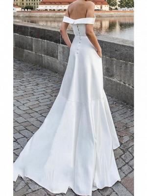 A-Line Off Shoulder Sweep \ Brush Train Satin Short Sleeve Formal Wedding Dress in Color Wedding Dresses_2